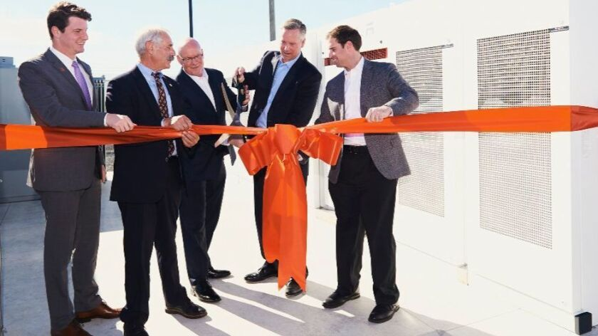 Southern California Edison had a ribbon cutting Monday to mark the installation of a Tesla battery facility in Ontario that can store solar energy generated during the day for use at night.