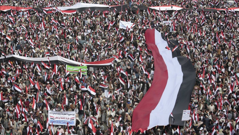 Hundreds of thousands of Yemenis march in the rebel-held capital, Sana, on Aug. 20, 2016, in support of a new combined governing council announced late last month.
