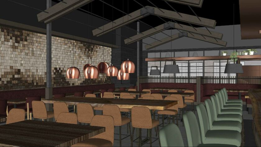 An artist's rendering of International Smoke, a modern steakhouse that will explore global approaches to cooking with fire, grilling and smoke. Co-founded by chef Michael Mina and Food Network star Ayesha Curry, it will open in spring 2019 at One Paseo in Carmel Valley.