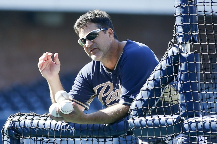 Padres hitting coach Phil Plantier leans on the pitching screen while explaining the finer points of his hitting philosophy during warmups prior to a baseball game against the Milwaukee Brewers Tuesday, Aug. 26, 2014, in San Diego.