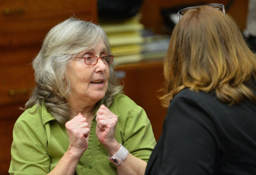 Susan Mellen rejoices after L.A. County Superior Court Judge Mark S. Arnold threw out her murder conviction.