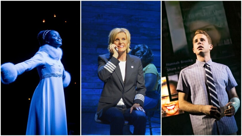 "Tony contenders, from left: ""Natasha, Pierre & the Great Comet of 1812,"" ""Come From Away"" and ""Dear"