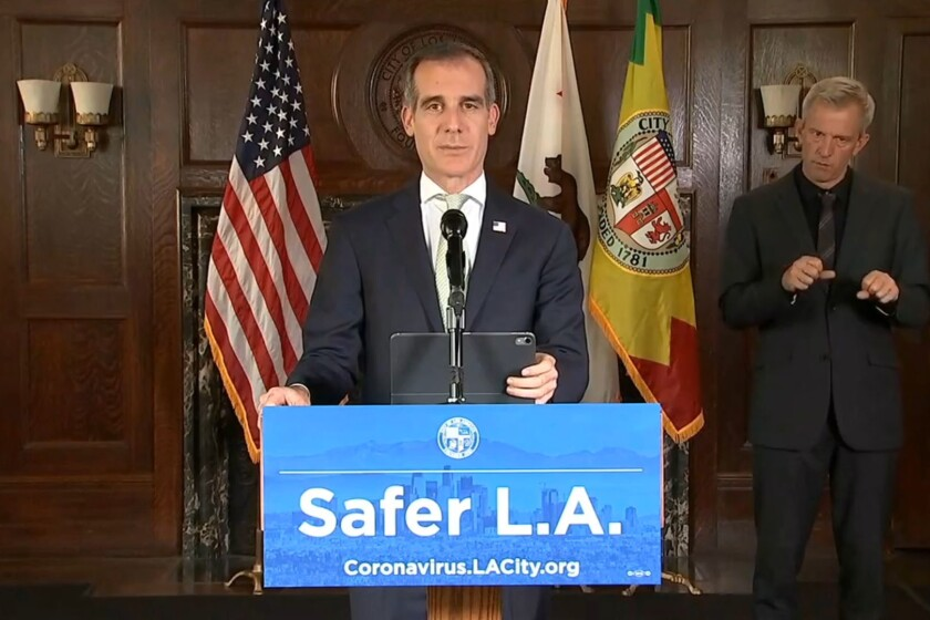 Los Angeles Mayor Eric Garcetti during a recent coronavirus briefing.