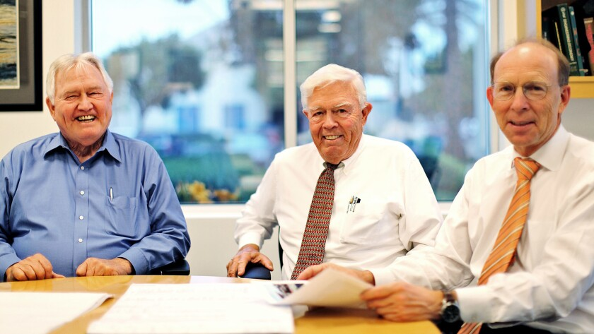Builder Paul Matt, center, whose firm constructed many L.A. landmarks, died Friday. Photographed with him are brother Al Matt, left, and son Steve Matt.