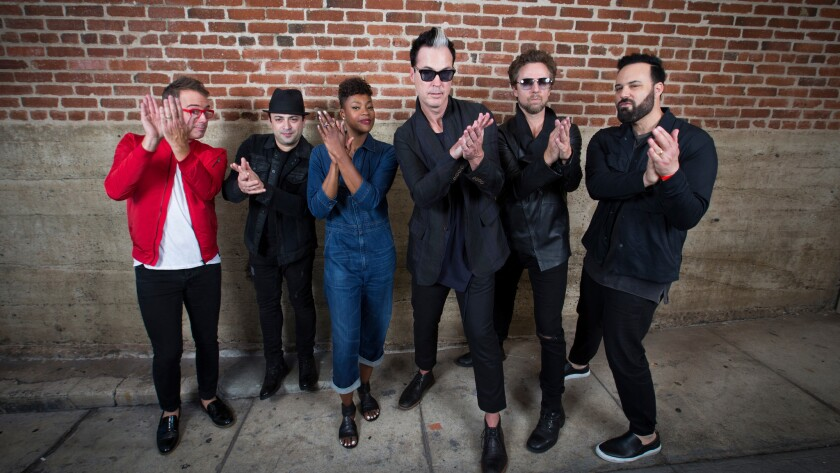 "Fitz & the Tantrums from left: John Wicks, James King, Noelle Scaggs, Michael Fitzpatrick, Joseph Karnes and Jeremy Ruzumna. The band has a summer hit with ""HandClap."""