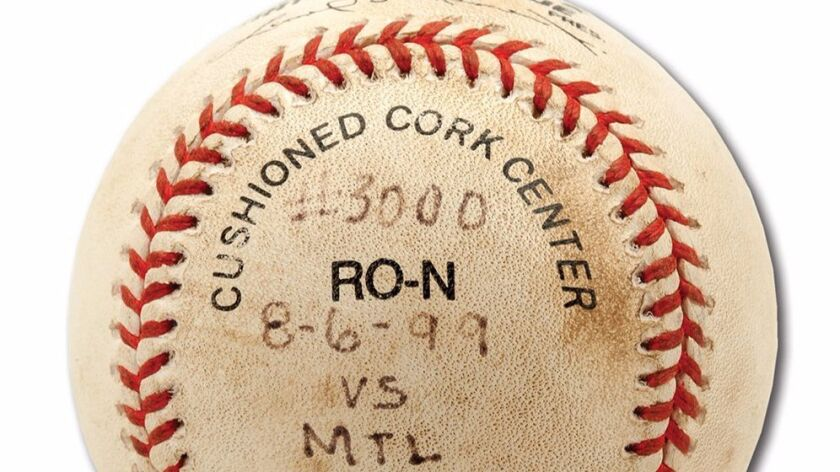"This Tony Gwynn baseball, bearing the date and notation, ""#3000,"" sold for $142,762 at auction as two bidders dueled for the purchase."