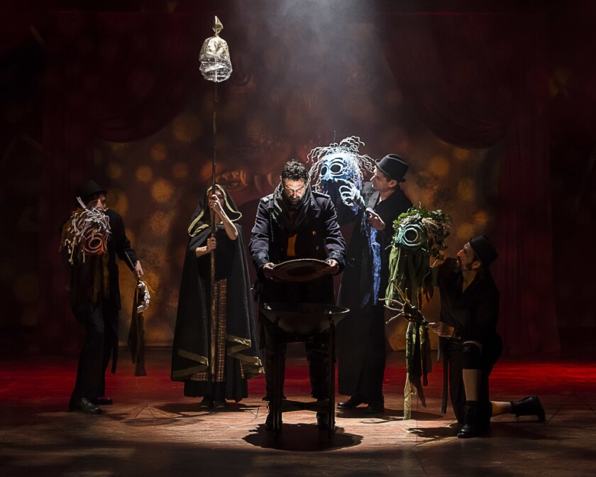 "Elijah Alexander, center, Amin El Gamal, Katie Pelensky, Jeremy Rabb and Thom Rivera in ""Macbeth."""