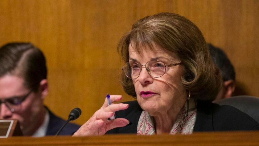Senate Judiciary Committee ranking member Sen. Dianne Feinstein (D-Calif.) at a March 6 hearing.