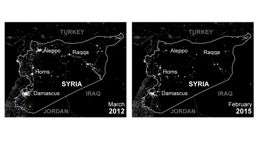 Scientists who analyzed satellite images taken of Syria at night between March 2011 and last month estimate that 83% of the country's lights have gone out since its conflict began.