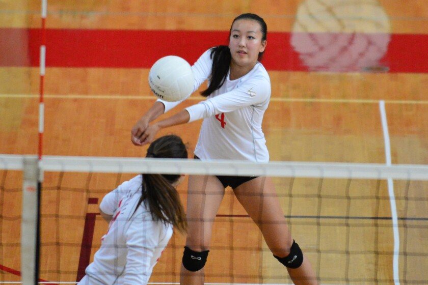 Canyon Crest Academy defeated Ramona 3-1 (25-19, 25-21, 10-25, 25-10) in a nonleague match on Sept. 16. Ashley Sung (above) had 17 kills and 17 digs and setter Olivia Lovenberg had 50 assists to lead the Ravens.