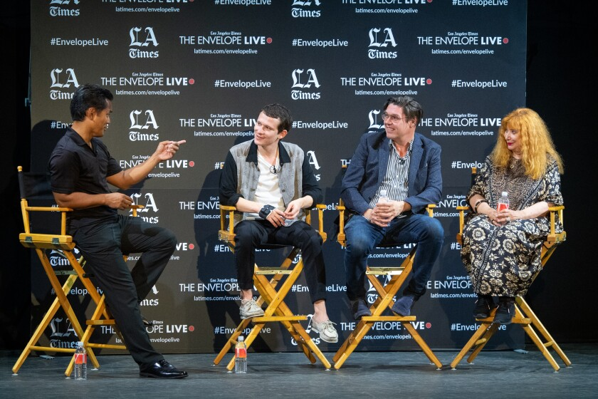 """Los Angeles Times writer Michael Ordona, actor Joel Basman, director Michael Steiner and actress Inge Maux, from left, at the Envelope Live screening of """"Wolkenbruch."""""""