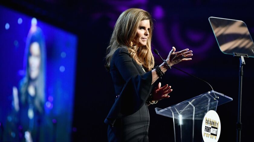 Honoree Maria Shriver speaks at the Celebrity Fight Night XXIV benefit on March 10, 2018.