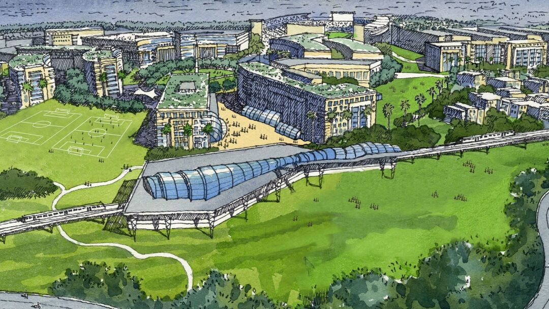 This 2016 concept plan for the Qualcomm Stadium site shows how a San Diego State University west campus might look.