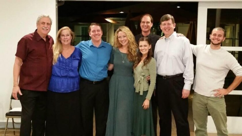From the staged reading of 'The Clearing,' in March 2015: Ed Hollingsworth, Dana Hooley (who won the San Diego Critics Circle Award for Actress of the Year for 2014), AJ Knox, Laura Bohlin, Maelyn Gandola, John Tessmer, Steven Jensen and Sandy Torretti.