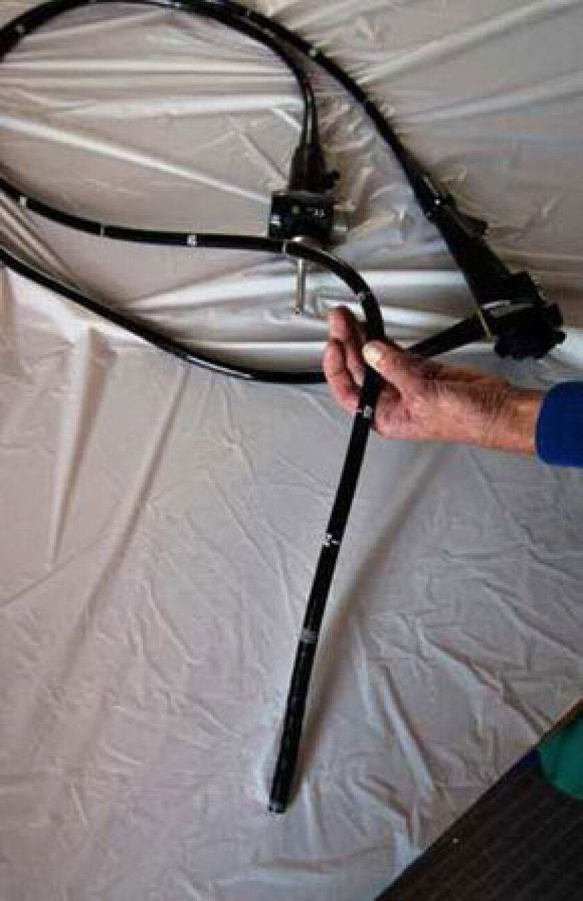 An endoscope used in colon examinations. Three in 20 instruments failed a recent cleanliness test.