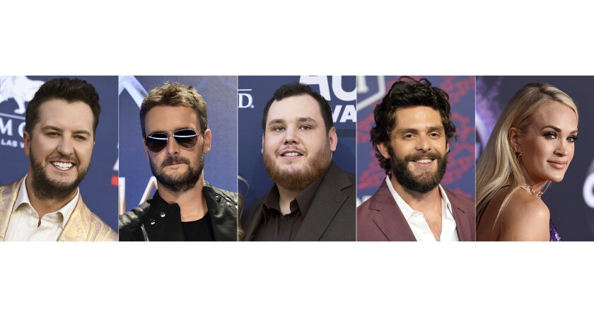 This combination photo shows, from left, Luke Bryan, Eric Church, Luke Combs, Thomas Rhett and Carrie Underwood, nominees for entertainer of the year at the 55th ACM Awards. (AP Photo)