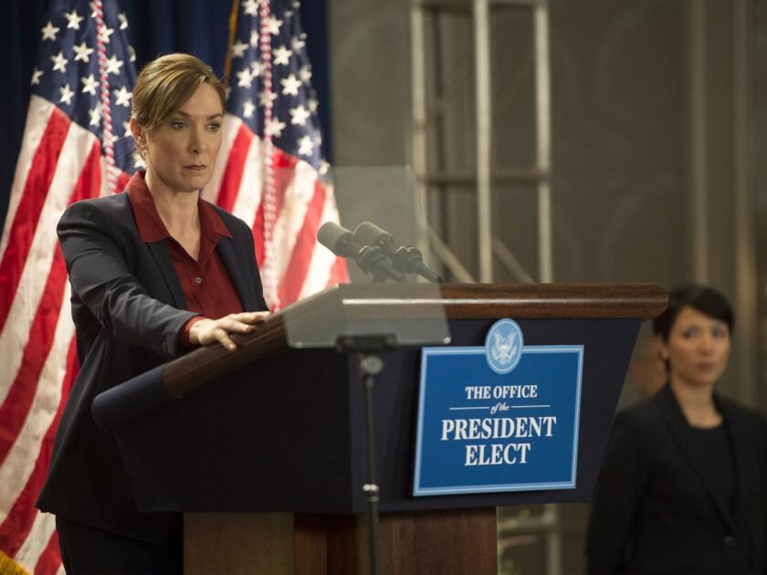 "Elizabeth Marvel as President-elect Elizabeth Keane in a scene from ""Homeland"""