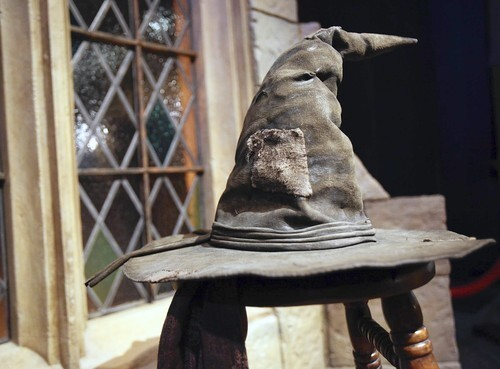 The Sorting Hat greets visitors at the Harry Potter exhibit at the Museum of Science and Industry.