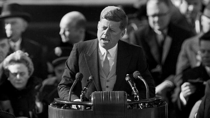 President Kennedy delivers his inaugural address at Capitol Hill in Washington on Jan. 20, 1961.
