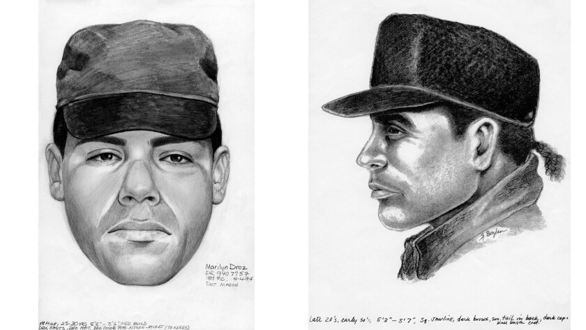 "These drawings of the man sought in the 1994 shooting deaths of Kenny Paul Sommer and Chen ""Cosmo"" M"