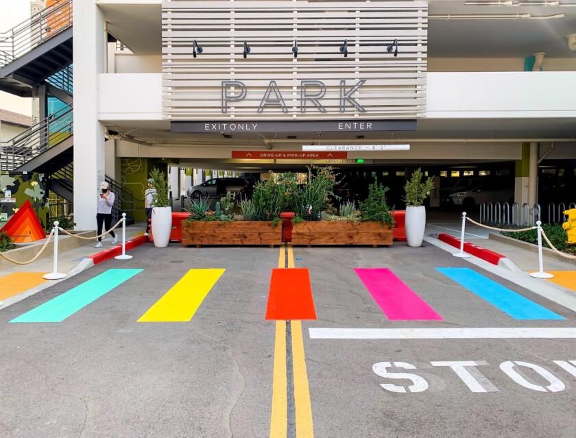 The new rainbow crosswalk at One Paseo.