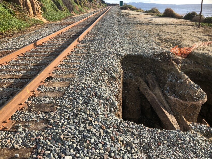Bluff collapses within steps of passenger train tracks in Del Mar after heavy rains