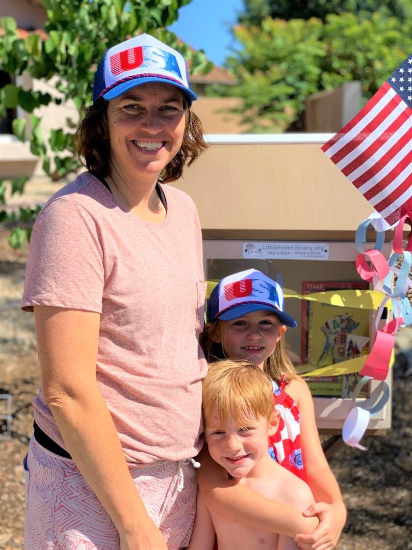 Little Free Library, Kari Marsolais with her children.jpg