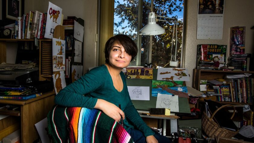 LOS ANGELES, CA--DECEMBER 28, 2017: Author Angela Sanchez is photographed in her Highland Park resid