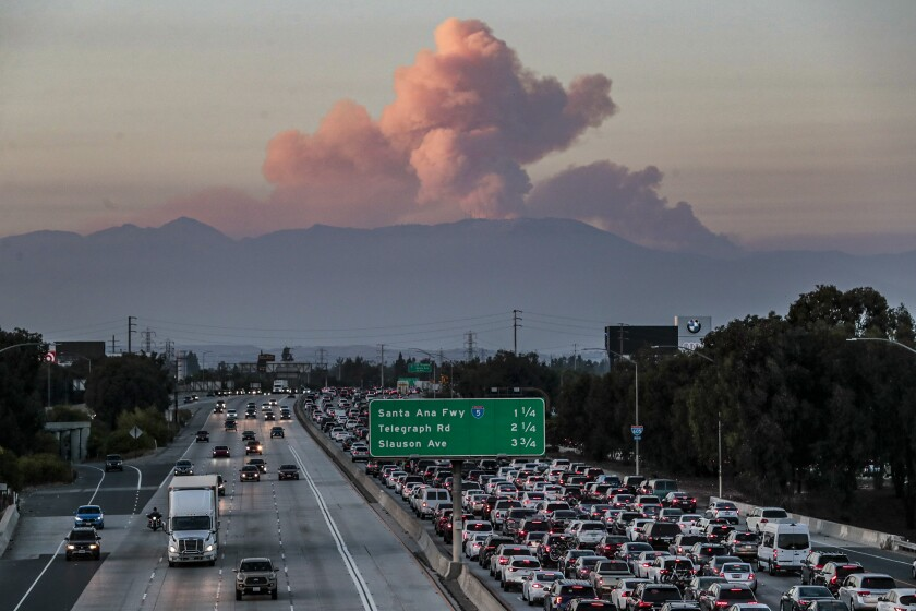 The Bobcat fire, as seen from the 105/605 freeway interchange on Sept. 20, 2020.