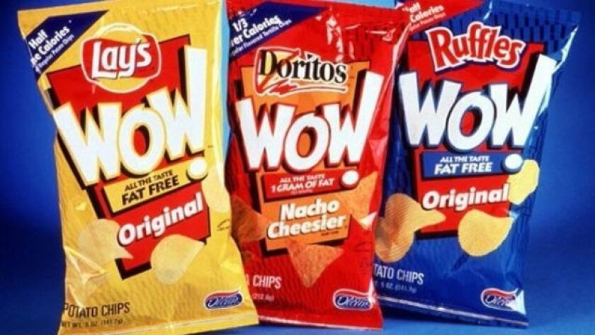 Frito-Lay's Wow! chips, a fat-free line introduced in 1998, was promoted as being a healthier snack. However, the fat had been replaced with Olestra, an indigestible fat-like substance that became notorious for unpleasant gastrointestinal effects. Recent studies have challenged the prevailing belie