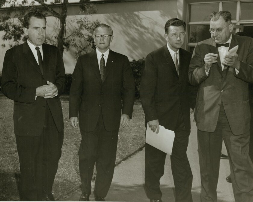 <p>  An undated photo shows Richard Nixon, former San Diego Union and Evening Tribune Publisher James S. Copley and Herb Klein with an unidentified man.  <em>   U-T file  </em> </p>
