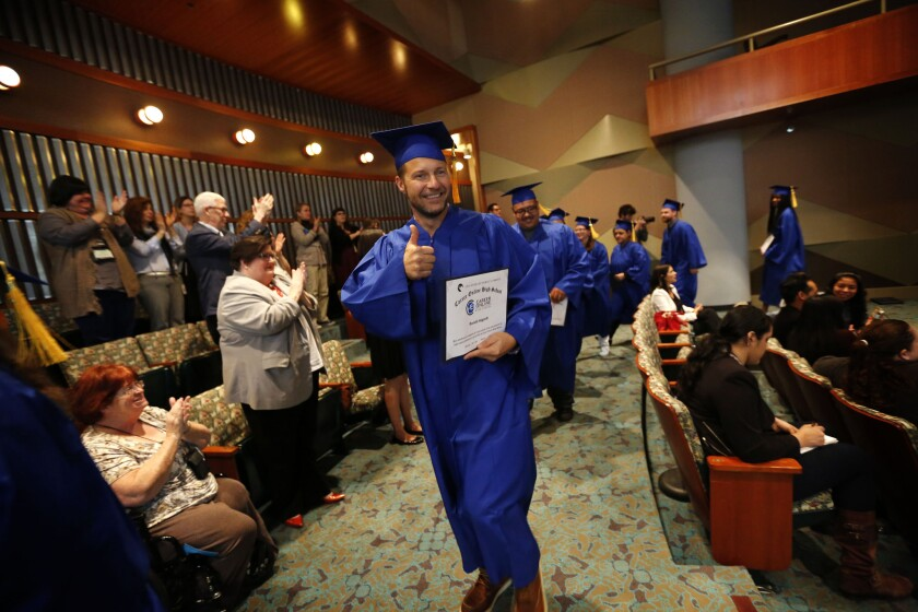 Ron Hagardt at his graduation at the L.A. Public Library ceremony for adults who earned high school diplomas from the Career Online High School.
