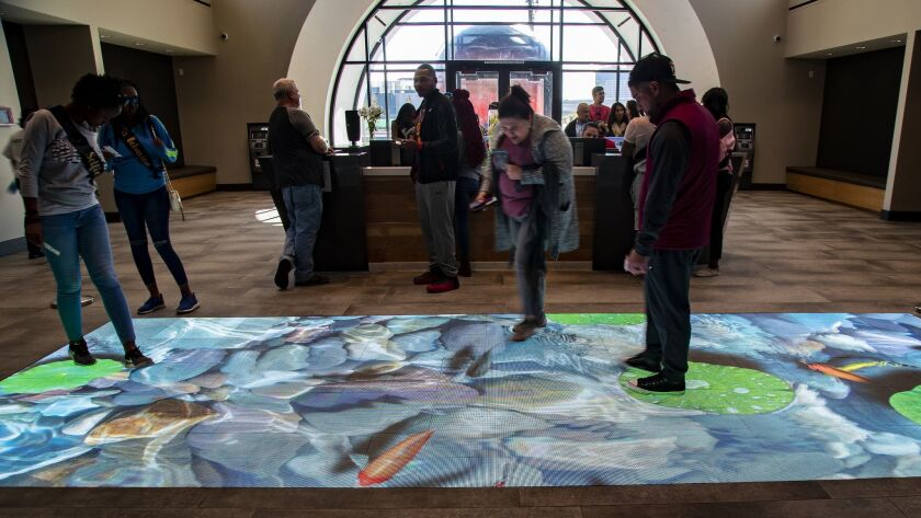 LAS VEAS, NV - NOVEMBER 10, 2018: An interactive LED floor greets customers as they enter Planet 13