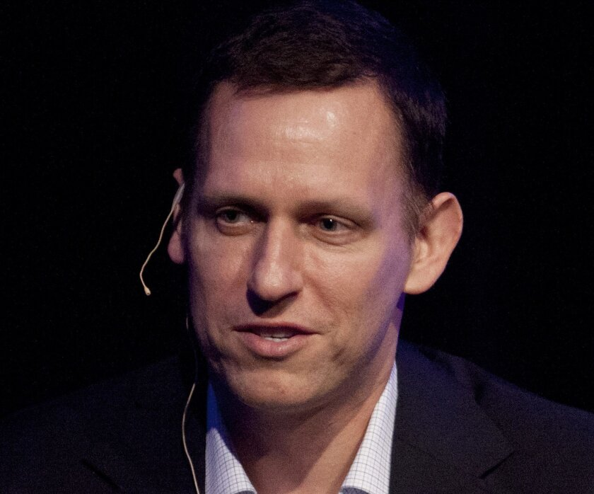 FILE - In this Thursday, March 8, 2012, file photo, Clarium Capital President Peter Thiel speaks during his keynote speech at the StartOut LGBT Entrepreneurship Awards in San Francisco. Billionaire tech investor Thiel has been secretly funding Hulk Hogan's lawsuit against Gawker Media for publishin