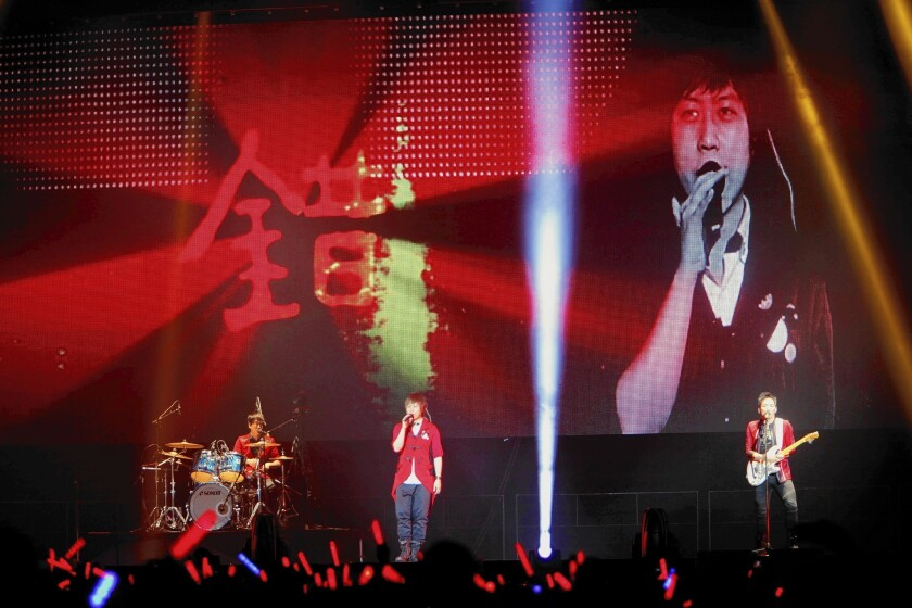 Taiwanese band Mayday performs at the Los Angeles Sports Arena. The show marked the band's 15th anniversary.