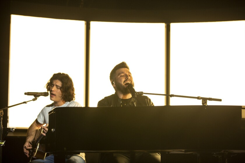 LOS ANGLES, CALIF. - FEBRUARY 07: Dan Smyers and Shay Mooney of Dan + Shay rehearse onstage for the