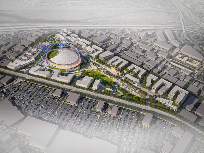 An artist rendering shows The Toll Brothers' proposal for redevelopment of the Sports Arena site.
