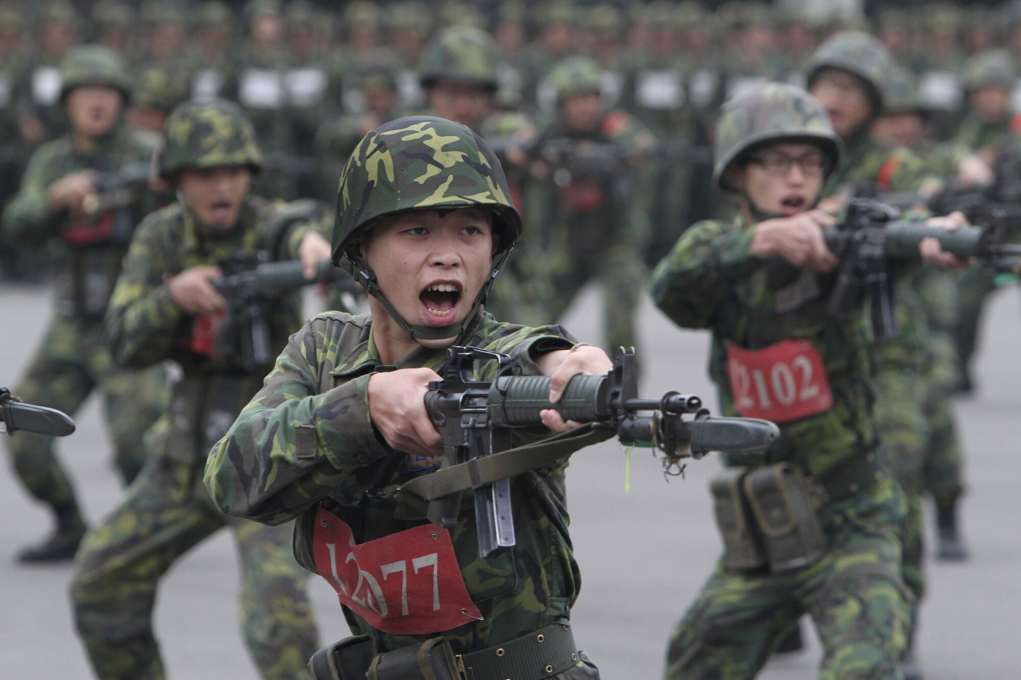 New recruits practice at a military training center in Hsinchu County, northern Taiwan.
