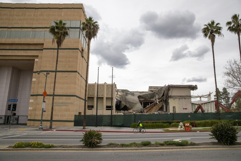 The view of the LACMA demolition from Wilshire Boulevard on Tuesday.