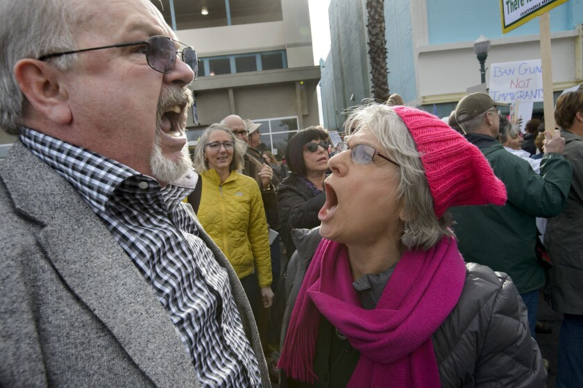 Trump supporter Lance Snead of Roseville, left, is confronted by anti-Trump protester Louise Isaacson of Newcastle during a rally outside McClintock's town hall. (Randall Benton / The Sacramento Bee)