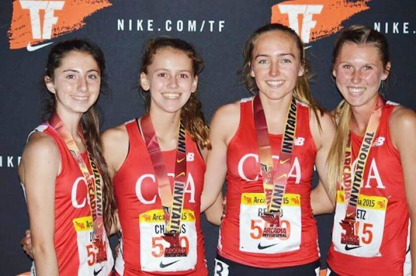 The Canyon Crest Academy distance medley relay team — L-R, Kira Loren, Corrine Chapkis, Kelly Bernd and Kragen Metz — finished seventh overall and set a new school record.