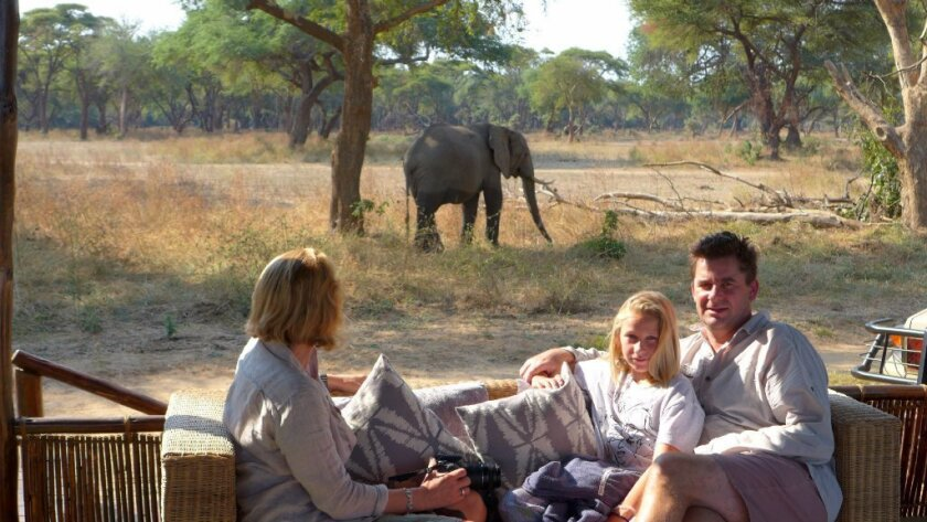 John Spence, president of Scott Dunn USA, with his family in Zambezi. Courtesy photo