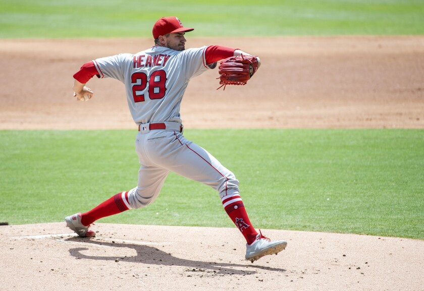 Angels starting pitcher Andrew Heaney delivers during the first inning of a 5-1 victory over the Texas Rangers on Tuesday.