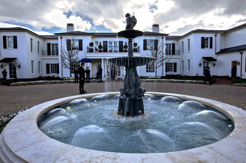 A fountain at the entrance of the Manor House at the Rosewood Miramar Beach resort in Montecito.