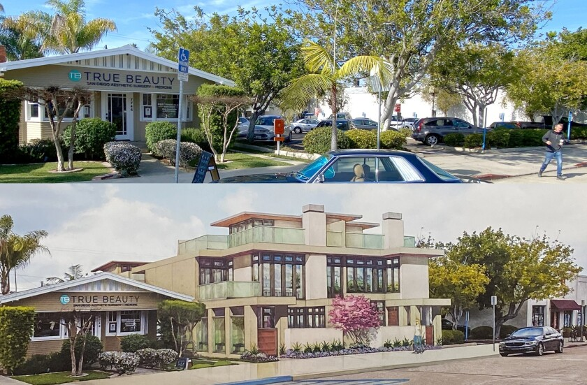 Top: 7600 Herschel Drive is half of a 44-space parking lot next to True Beauty aesthetic surgery center. Bottom: The owner of the property proposes to develop the plot for a four-unit condominium in this artist's rendering.