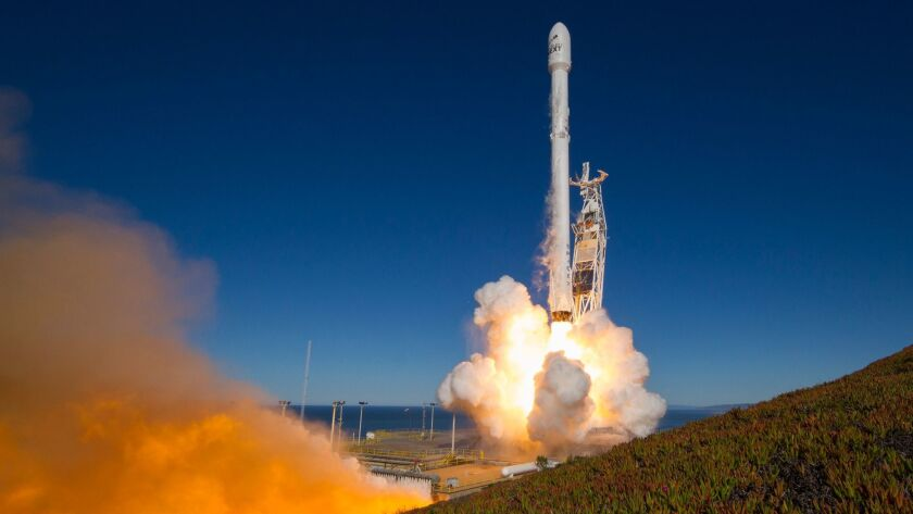 SpaceX's Falcon 9 rocket with 10 Iridium NEXT communications satellites lifts off Jan. 14 from Vandenberg Air Force Base.