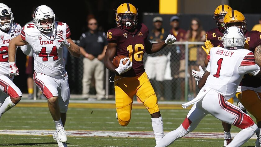 Arizona State safety Aashari Crosswell (16) in the first half during an NCAA college football game U
