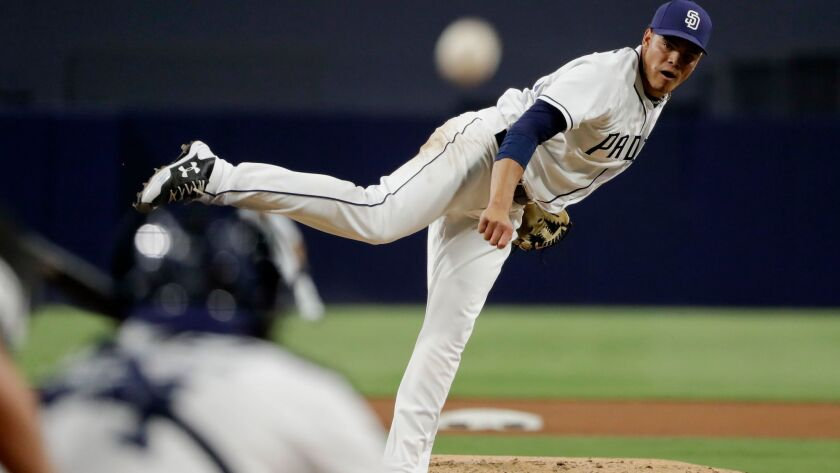 San Diego Padres starting pitcher Dinelson Lamet works against a St. Louis Cardinals batter during t