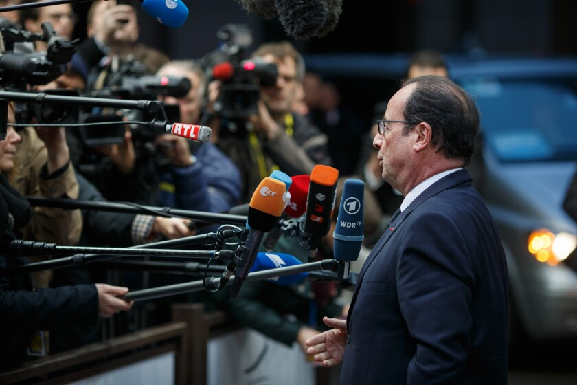 French President Francois Hollande, speaking to journalists at a European Union summit in Brussels late Thursday, was the first of the alliance's leaders to call for easing of sanctions on economically troubled Russia.