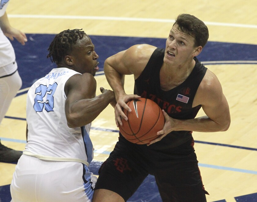 The Aztecs, behind leading scorer and rebounder Yanni Wetzell moved to 4-0 for the first time since 2014-15 with a 66-49 victory against USD Wednesday at Jenny Craig Pavilion.